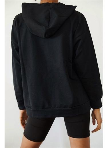 XHAN Siyah Baskılı Kapüşonlu Sweatshirt 1Kxk8-44691-02 Siyah